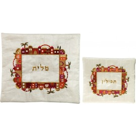 White Jerusalem Tallit & Tfillin Bag Set by Yair Emanuel