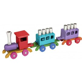 Colorful Wooden Train Hanukkah Menorah by Yair Emanuel