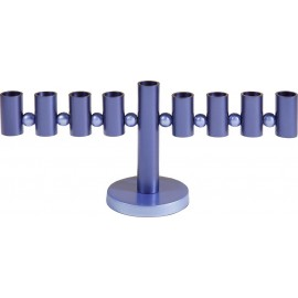 Blue Hanukkah Menorah with Cylinders & Beads - Yair Emanuel