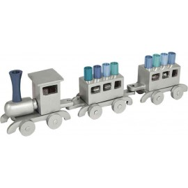 Silver Wooden Train Hanukkah Menorah by Yair Emanuel - Blue