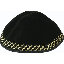 Black Velvet Kippah with Gold Trim