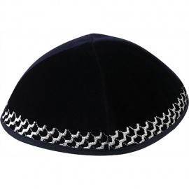 Black Velvet Kippah with Silver Trim