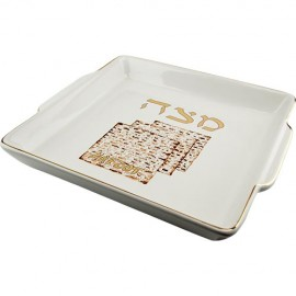Beautiful Smooth Ceramic Matzah Tray