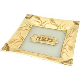 Wheat Stalk Designed Matzah Plate