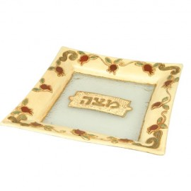 Pomegranate Designed Matzah Plate