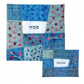 Yair Emanuel Silk Matzah Cover Set with Blue Patches