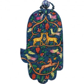 Wonderful Wooden Wildlife Hamsa by Yair Emanuel