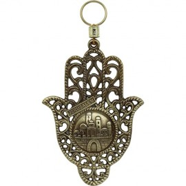 Magnificent Jerusalem Lattice Work Brass Hamsa