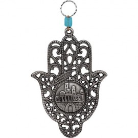 Magnificent Jerusalem Lattice Work Pewter Hamsa