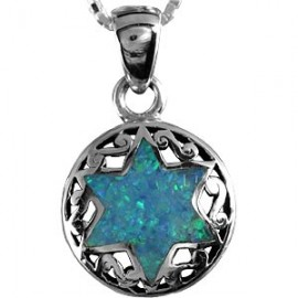 Opal Magen David with Round Silver Frame
