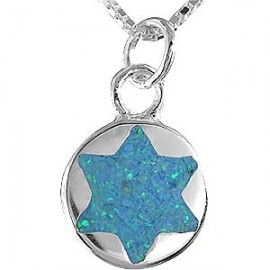 Opal and Silver Magen David Pendant