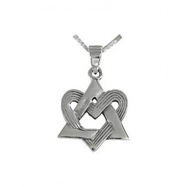 Silver Magen David With Heart Pendant