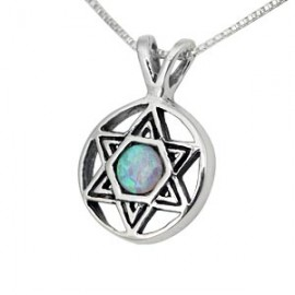 Round Silver and Opal Jewish Star Pendant