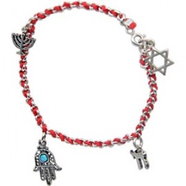 Kabbalah Red String Bracelet with 4 Jewish Symbols