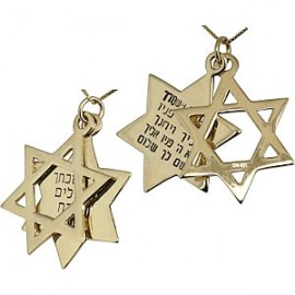 14K Gold Double Magen David Pendant