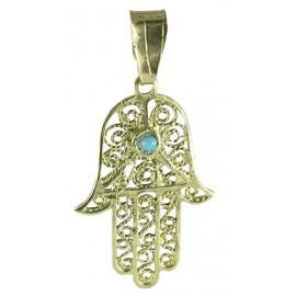 14K Gold Filigree Hamsa Hand Pendant with Turquoise