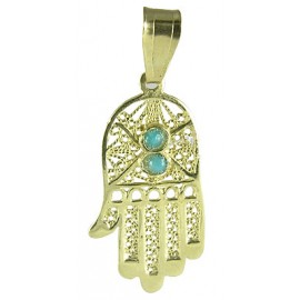 14K Gold Filigree Hamsa Hand with Two Turquoise