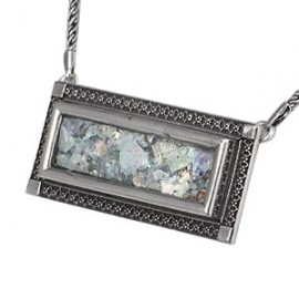 "Silver Filigree ""Picture Frame"" Roman Glass Necklace"
