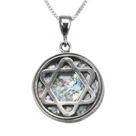 Multicolored Roman Glass Magen David Pendant