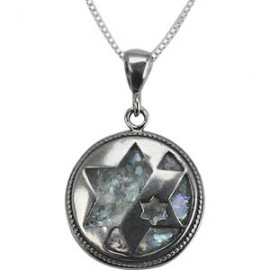Colorful Roman Glass Silver Jewish Star Pendant