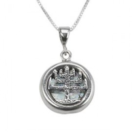 Silver Filigree Menorah Roman Glass Pendant