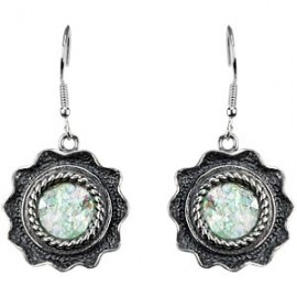 Sterling Silver Roman Glass-filled Earrings