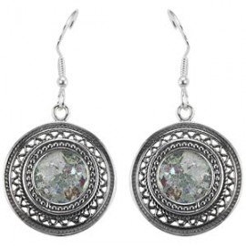 Elegant Silver Filigree Roman Glass Earrings
