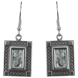 "Silver Filigree ""Picture Frame"" Roman Glass Earrings"