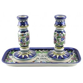Large Armenian Cermics Candlesticks