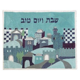 Naive Jerusalem In Blue Challah Cover