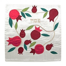 Red Pomegrenate on White Matzah Cover