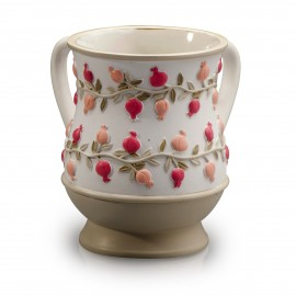 Acrylic pink pomegranate designed wash cup