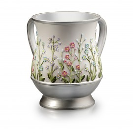 Acrylic White & Silver designed wash cup
