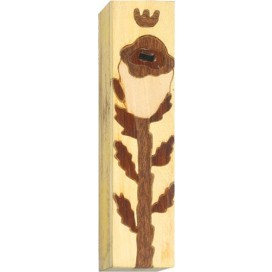 Tulip Inlay Wood Mezuzah
