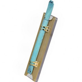 Shraga Landesman Golden and Patina Hamsa Mezuzah
