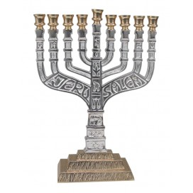 Highly Decorative Silver and Gold Hanukkah Menorah