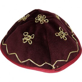 Felt Burgundy-and-Gold Baby Kippah – Yarmulke