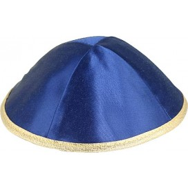 Satin Kippah In Blue And Gold