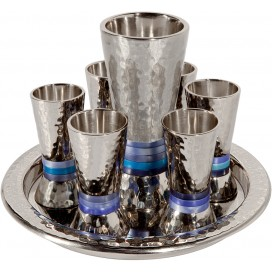 Blue Rings Kiddush Cup Set by Yair Emanuel