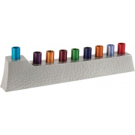 Yair Emanuel Aluminum Menorah with Hammered Pattern and Bright Candleholders
