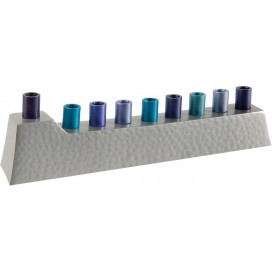 Hammered Hanukkah Menorah with Blue Candleholders -  Yair Emanuel