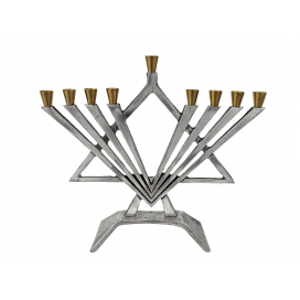 Silver and Gold Polished Metal Menorah