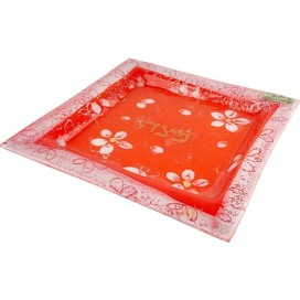 Stunning Floral Fused-glass Matzah Plate by Doris