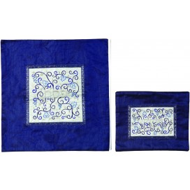 Gorgeously Embroidered White and Blue Pomegranates Design Matzah and Afikoman Covers by Yair Emanuel