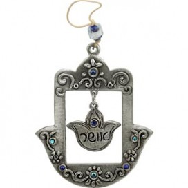 Pewter Happiness Hamsa with Blue Gemstones