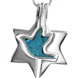 Silver and Opal Dove Magen David Pendant