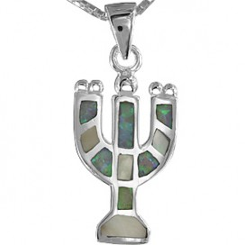 Opal Stone, Mother of Pearl and Silver Menorah Pendant