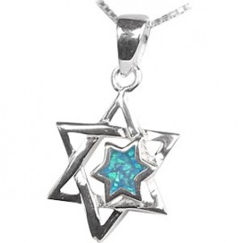 Opal Stone and Silver Magen David Pendant
