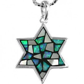 Opal Stone, Mother of Pearl and Silver Magen David Pendant