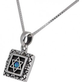 Dainty Square Silver and Opal Jewish Star Pendant